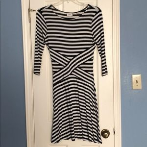 Bland and White Striped Dress